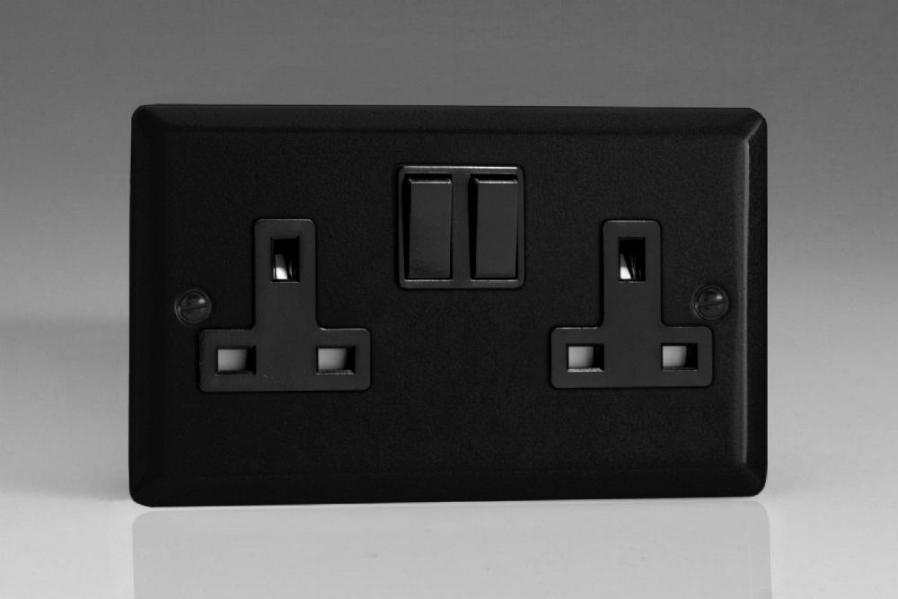 Varilight 2 Gang 13a Double Pole Switched Socket Matt Black